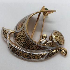 VTG Spanish Damascene Sail Boat Pin